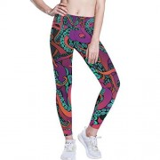 ALAZA Pantalones de Yoga de Cintura Alta para Mujeres y niñas, Color arcoíris de Dibujos Animados Pulpo para Mujer Control de Abdomen, Leggings de Entrenamiento, Multi Color, XS
