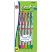 Cello Advanced Ink 1.0mm Ball Point Pens Purple/Pink/Orange/Green/Turquoise Ink 5 Pack (Superglide 5 ct Fashion)