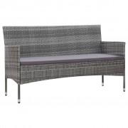 vidaXL 3-местен градински диван с възглавници, сив, полиратан