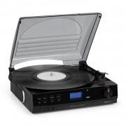 Auna TT-186 DAB, грамофон, DAB + / FM, BT функция, ремъчно задвижване 33/45 об / мин. (DAB1860)