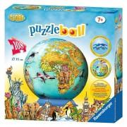 Ravensburger puzzle 3d globul lumii, 108 piese