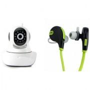 Zemini Wifi CCTV Camera and Jogger Bluetooth Headset for SONY xperia e4g dual(Wifi CCTV Camera with night vision  Jogger Bluetooth Headset With Mic )