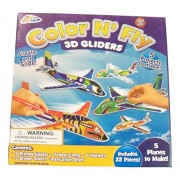 Color N Fly Build Your Own 3 D Gliders ~ Makes 5 Planes (22 Pieces; Ages 5+)