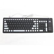 Lianzhi Foldable Silicone Keyboard USB Cable Soft Silicone Waterproof Computer Desktop (103 keys) Keyboard Black
