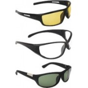 I KING Wrap-around, Wayfarer Sunglasses(Clear, Yellow, Green)