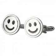 Material de aleacion ronda sonrisa forma mancuernas - plata (par)