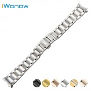 Stainless Steel Watch Band 18mm 20mm 22mm for Seiko Curved End Strap Butterfly Buckle Belt Wrist Bracelet Black Gold Silver