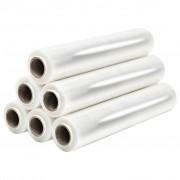 vidaXL Role de folie pentru paleți, 6 buc., transparent, 23 µm, 624 m