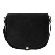 Schwarze Wildleder Umhängetasche für Damen - Aktentasche, Dokumententasche, Schultertasche