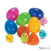 24 Plastic Pom-pom Toy Chick-filled Easter Eggs