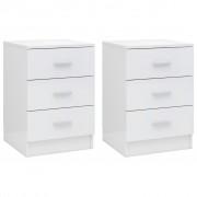 vidaXL Нощни шкафчета, 2 бр, бял гланц, 38x35x56 см, ПДЧ