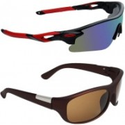 Zyaden Sports, Wrap-around Sunglasses(Multicolor, Brown)