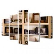 Tablou Canvas Premium Abstract Multicolor Masina De Scris Neagra Decoratiuni Moderne pentru Casa 120 x 225 cm