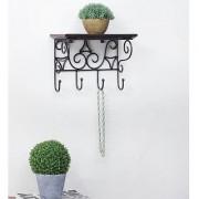 Wooden Wrought Iron Premium Wall Bracket Book Rack Cloth Hanger