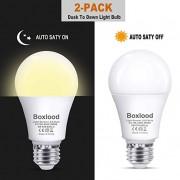 Dusk to Dawn A19 LED Light Bulb, Automatic On/Off, Built-in Light Sensor, 9-Watt (60-Watt Equivalent), 600-Lumen, 3000K Warm White, E26 Base Indoor Outdoor Security Night Lighting, 2-Pack by Boxlood
