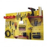 Wall Control 30-WRK-400 YR Pegboard Organizer 4' Metal Pegboard Standard Tool Storage Kit with Yellow Tool Board and Red Accessories