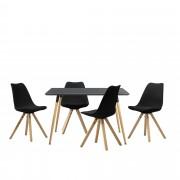 [en.casa]® Mesa de comedor Minimalista - Gris lacado mate - 120cm x 70cm x 75cm - para 4 Personas - Set de 4 x Sillas de diseño - Negro - 85cm x 48,5cm x 53,5cm - Juego de comedor