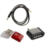 Techvik Combo OF 3.5 mm Jack Male to Male 1.5 Meter Flat Aux Cable Memory Card Reader With Micro USB OTG Adapter