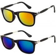 Debonair Retro Square Sunglasses(Blue, Red)