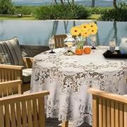 Binnen/buiten tafelkleed/tafellaken ivoor wit 180 cm rond - Ronde kanten tafelkleden Amira - Tuintafelkleed tafeldecoratie