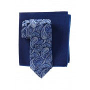 Ted Baker London Silk Tonal Paisley Tie Pocket Square Set BLUE