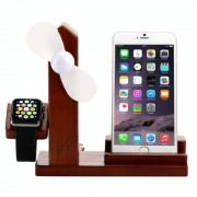 3 in 1 houten 3 ports USB lader houder met Mini Fan & USB Power Supply voor Apple Watch 38mm & 42mm / iPhone 6 Plus / iPhone 6