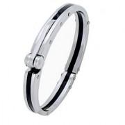 The Jewelbox Mens Boys Black Silver 316L Stainless Steel Oval Super Fit Macho Kada Bracelet
