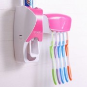 Tradeaiza Automatic Toothpaste Dispenser With 5 Toothbrush Holder Set Wall Mount Stand Plastic Toothbrush Holder-006
