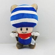 "Super Mario Bros Flying Squirrel Toad Blue 7.9"" Anime Animal Stuffed Plush Plushies Doll Toys"