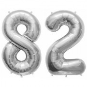 Stylewell Solid Silver Color 2 Digit Number (82) 3d Foil Balloon for Birthday Celebration Anniversary Parties