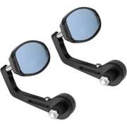 AutoSun Universal Oval Rear View Mirror for Bikes (Black)