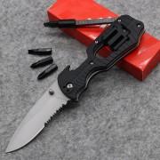 4 Screwdriver Knife 1920 Half Gear Serrated Tool Best Folding Knife 8CR13 58HRC Rubber Handle Tactical Survival Knife
