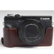 Genuine Leather Half Camera Case Bag Cover Protector for Canon PowerShot G5 X Mark II - Coffee