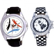 White Dial Tri Fan With Flowers Black Art Couple Analoge Wrist Watch By Ganesha Exim