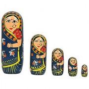 5Pcs Hand Painted Cute Wooden Indian Matryoshka