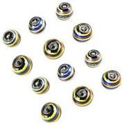 eshoppee handmade beads 15 mm glass silver foil designer beads set of 12 pcs for jewellery making
