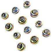eshoppee handmade beads 15 mm glass silver foil designer beads set of 12 pcs for jewellery making