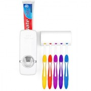 Dispenser Automatic Toothpaste Squeezer and Toothbrush Holder Bathroom Dust-proof Toothpaste Dispenser Kit 5 pcs Toothbrush Holder Sets