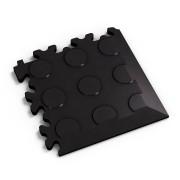 Černý vinylový plastový rohový nájezd Eco 2046 (penízky), Fortelock - délka 14 cm, šířka 14 cm a výška 0,7 cm