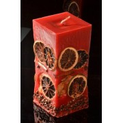 Designkaarsen com Fruit Kaars medium, ROOD rechthoek H: 15 cm - kaarsen