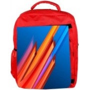 Snoogg Eco Friendly Canvas Orange And Blue Design Designer Backpack Rucksack School Travel Unisex Casual Canvas Bag Bookbag Satchel 5 L Backpack(Red)