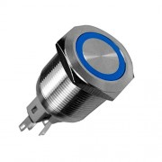 ELECTROPRIME Blue 12V 25mm Car Button Angel Eye LED Momentary Waterproof ON/Off Switch