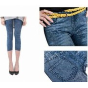Pantaloni Colanti Tip Blugi Leggings 3 Sferturi pentru Dama Marime S-M Culoare Albastru