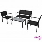vidaXL 4-dijelna vrtna garnitura od tekstilena crna