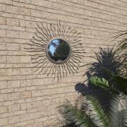 vidaXL Градинско стенно огледало, слънчеви лъчи, 60 см, черно