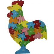 Shy Shy Wooden Jigsaw Puzzle In Shape Of Hen Each Piece Painted With Alphabets On One Side 1-26 Numbers On Other