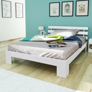 vidaXL Масивно легло от бор 200 x 140 см, бял цвят