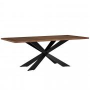 [en.casa]® Mesa de comedor 6-8 personas nogal 200x100cm mesa de cocina rectangular madera