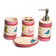 Set de baie, roz, model din ceramica