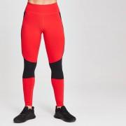 Mp Dámské sportovní legíny s barevnými panely - Červené - XS